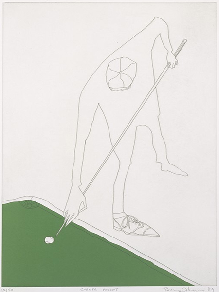 Benny Andrews, Corner Pocket. 1989. Etching and Color Lithograph