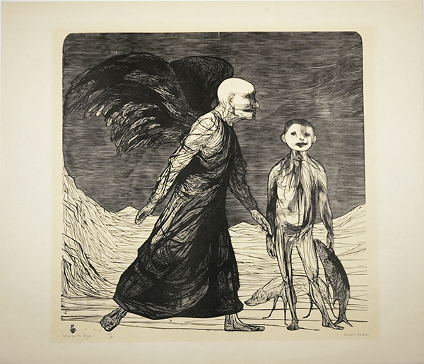 Leonard Baskin, Tobias and the Angel, 1958, wood engraving