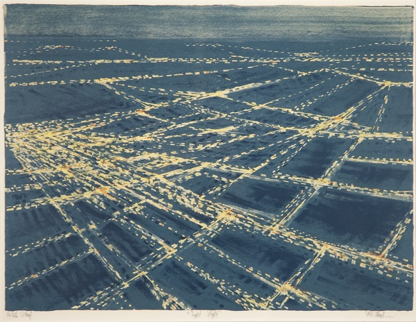 Richard Florsheim, Night Flight. Lithograph in color.
