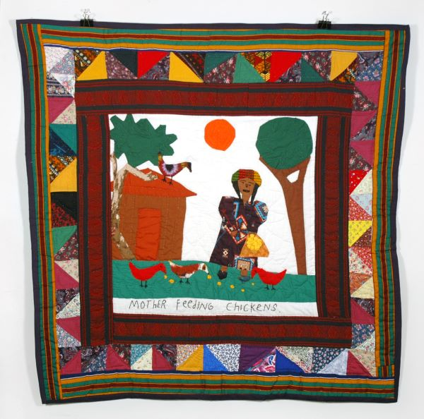 Hystercine Rankin, Mother Feeding Chickens. 1993. Quilt.